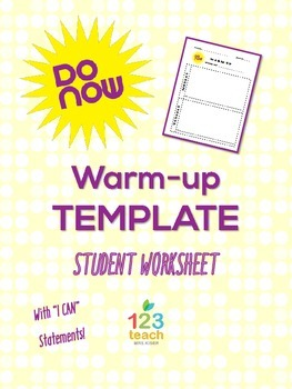 do now warm up student worksheet template with i can