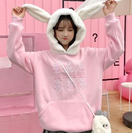 c3cd0f34c251 Cosplay bunny hoodie with ears for girls sweet pink and white sweatshirt