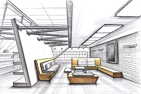 Interior design sketches 1 interior design sketches for Architecture modern house design 2 point perspective view