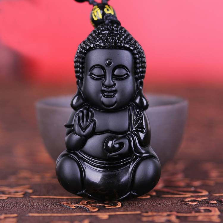 Chinese Handicraft Natural Black Obsidian Carved Lucky Blessing Baby Buddha Amulet Pendant Necklace Pendant Jewelry Dropshipping #Affiliate