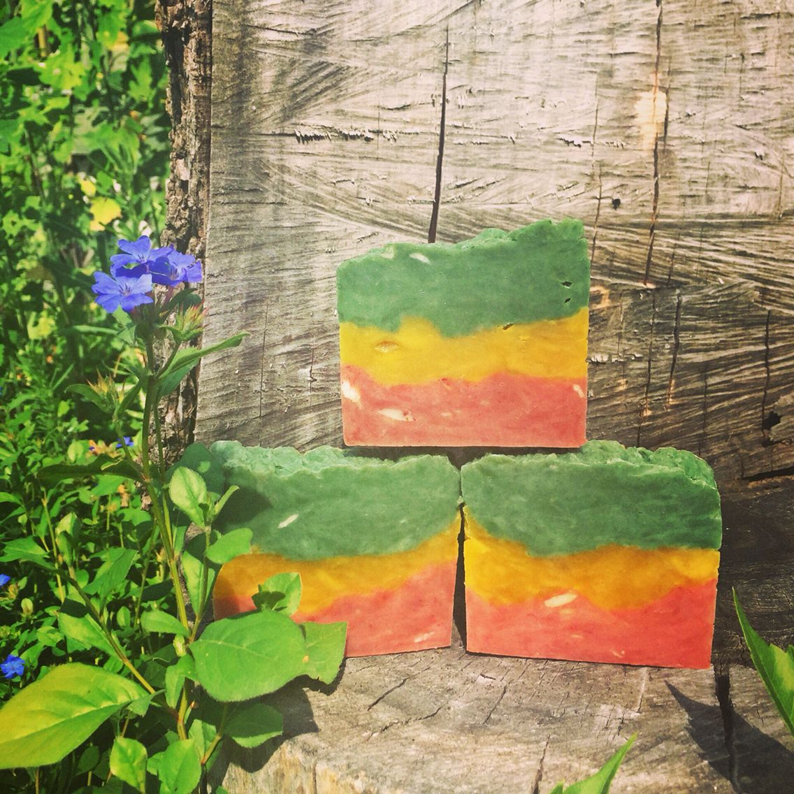 Organic, naturally colored Bob Marley hippie soap. Patchouli and sweet orange.