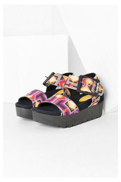 Desigual Multicolored platform sandals. Discover the spring-summer 2016 collection!