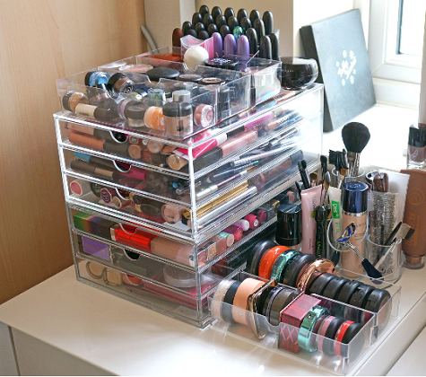 Excellent Design Makeup Storage Ideas Features Square Shape Makeup Storage  Boxes and Clear Acrylic Storage Boxes for Exciting Design of Makeup Storage  Ideas