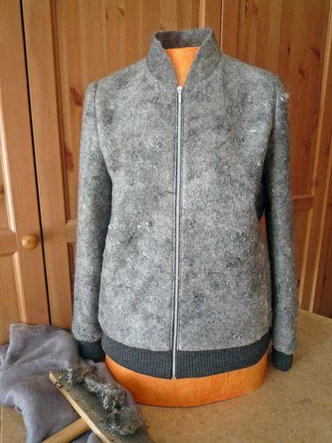 grey felt jacket from gotland & silk