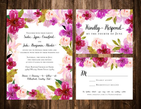 Hey, I found this really awesome Etsy listing at https://www.etsy.com/listing/229870072/fuchsia-florals-wedding-invitation-set