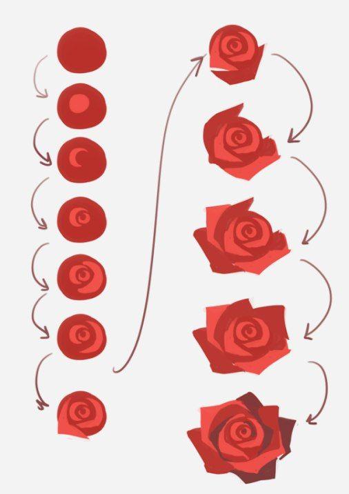 Como pintar una rosa  Paso a paso en 2019  Pinterest