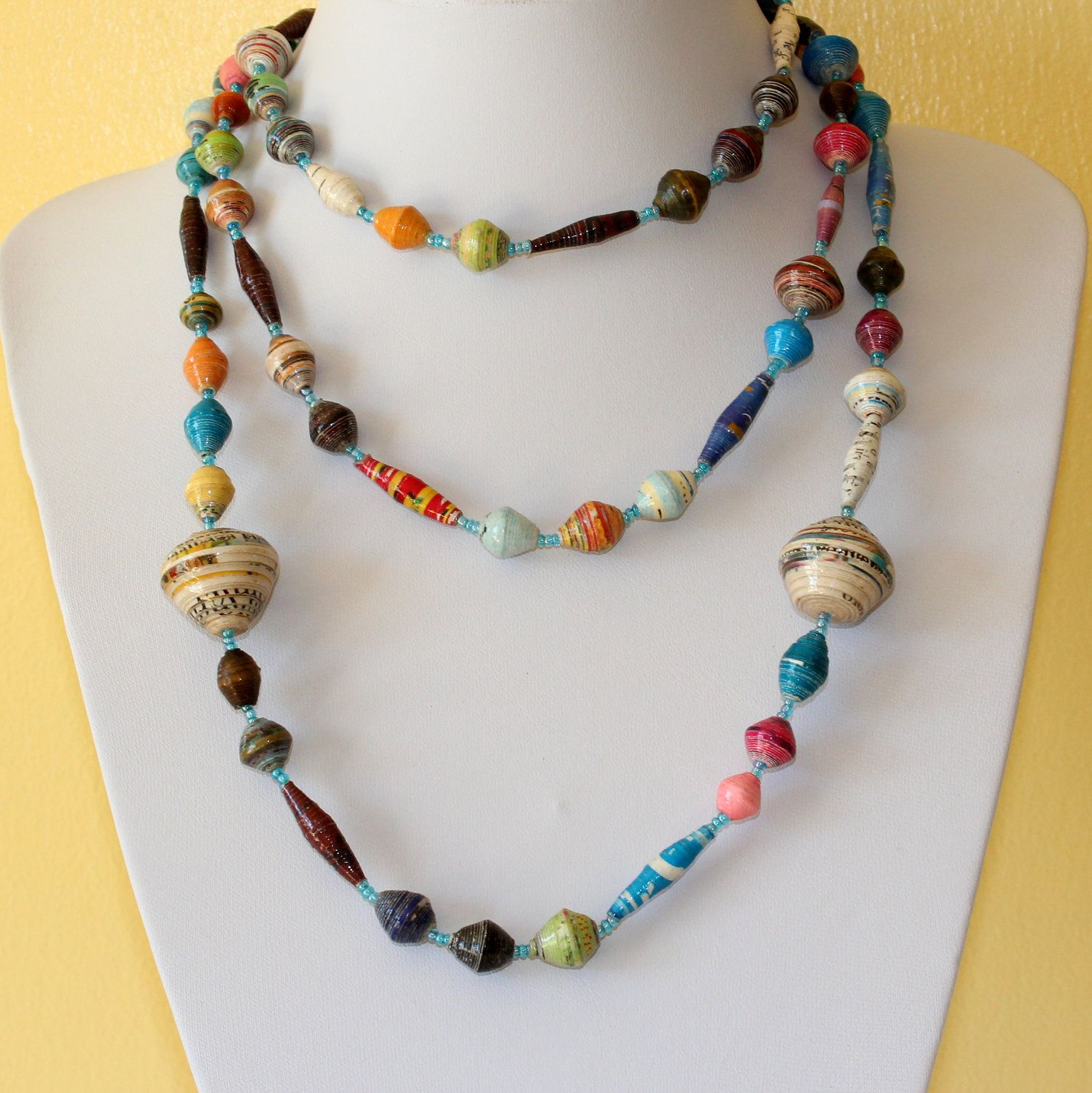 Rolled Paper Jewelry African Design Necklace Hand Rolled Paper Beads Paper Mache Multi Paper Jewelry Paper Beads Handmade Jewelry