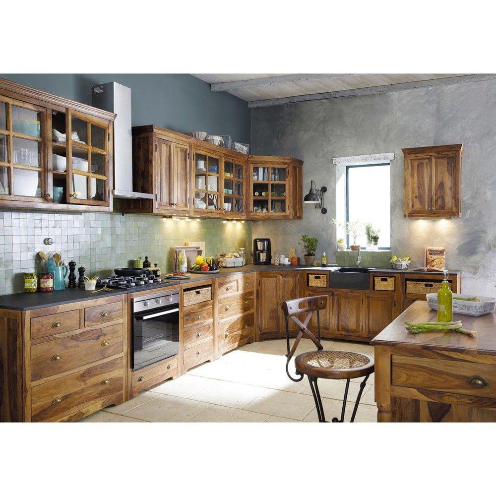 meuble bas de cuisine en bois de sheesham massif l 120 cm luberon maisons du monde