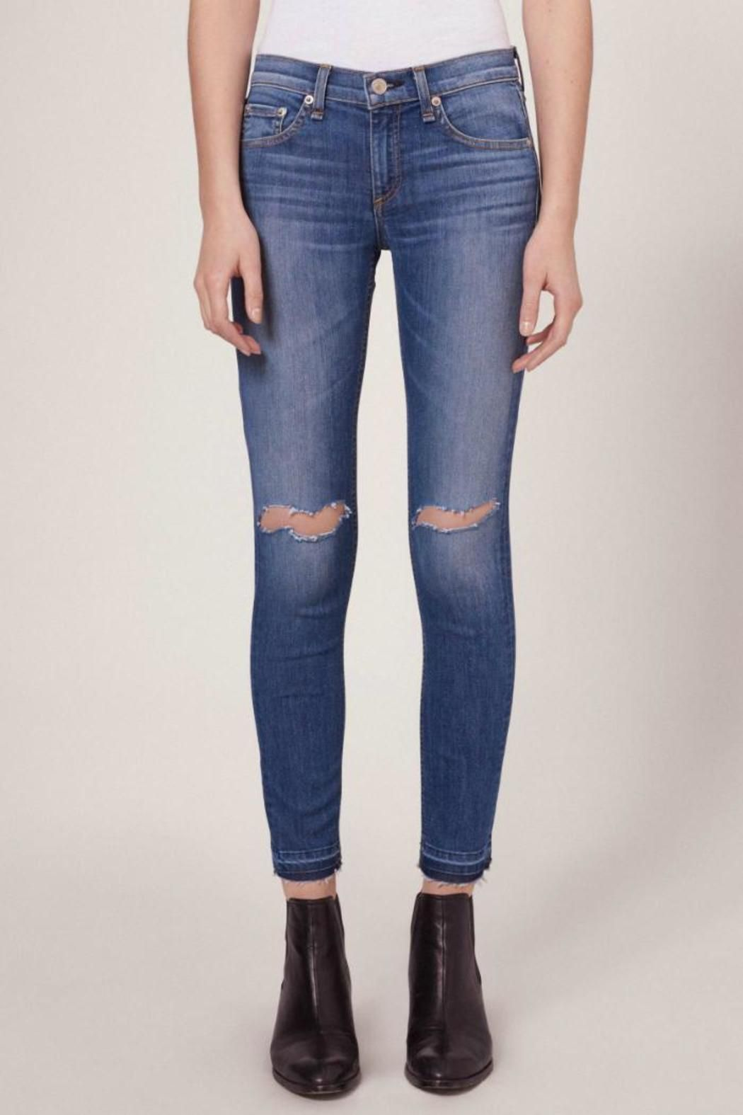 Frayed High-rise Skinny Jeans - Mid denim Rag & Bone