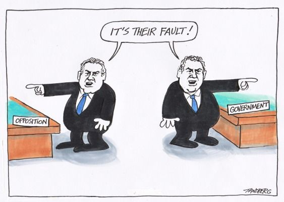 JOE DUD TREASURER HOCKEY BLAMING HABITS. HOCKEY HAS A VERY LIMITED INTELLECT. Cartoon by RON TANDBERG