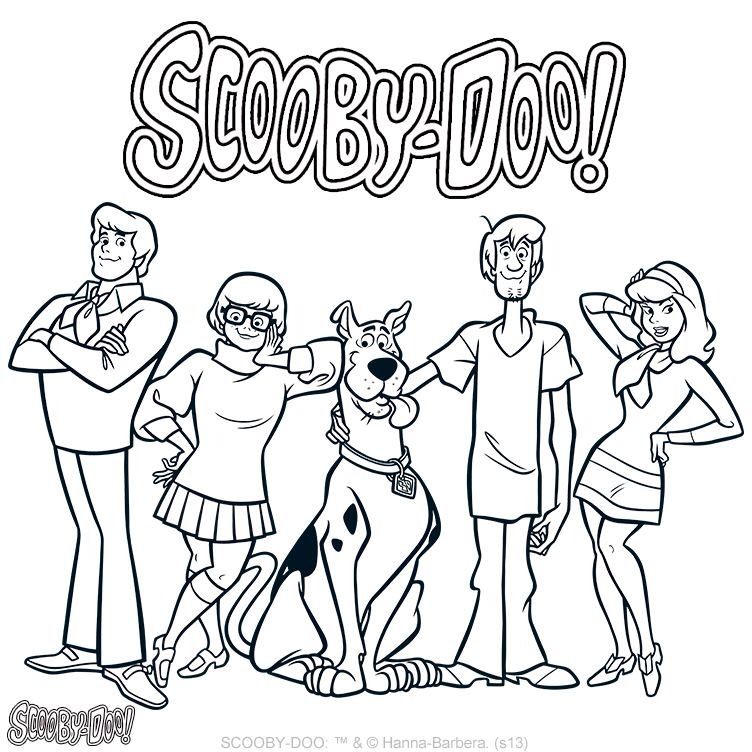 Scooby Gang With Images Scooby Doo Coloring Pages Cartoon