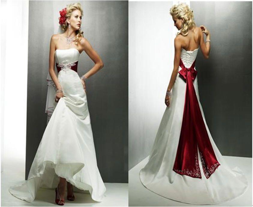 Wedding+Dress+Color | Ivory Satin Wedding Dress with Choice of Sash ...
