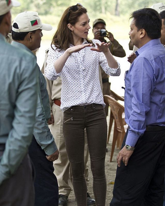 Kate kept it casual with her Zara trousers and RM Williams button-down at Kaziranga National Park
