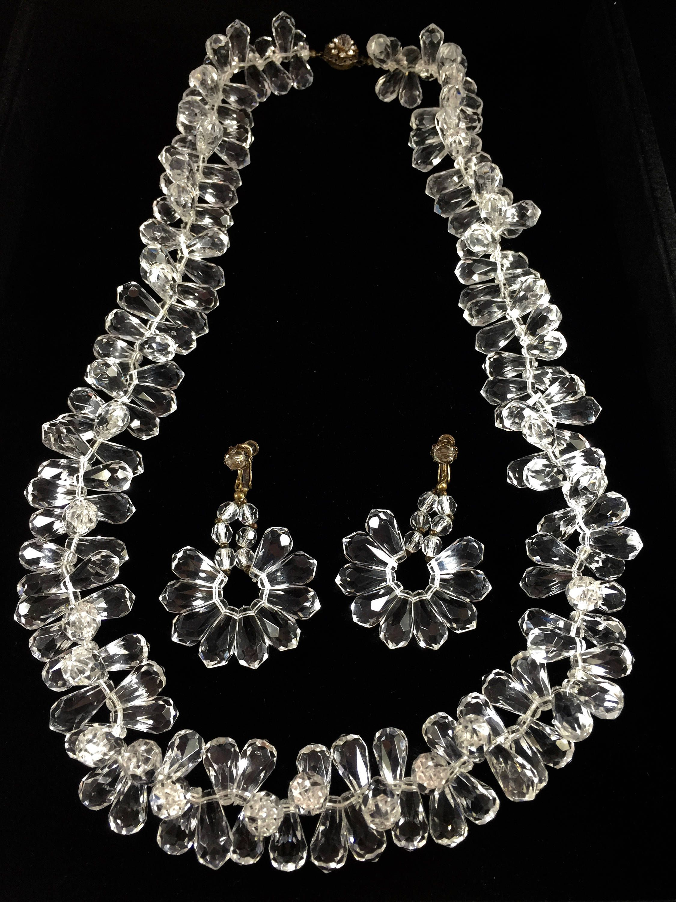 Vintage Miriam Haskell Lucite Jewelry Set Necklace And Clip Earrings By Ckestatevintage On Etsy