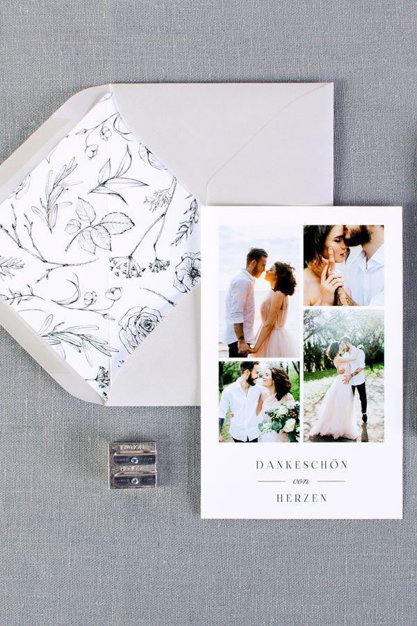 Danksagung zur Hochzeit mit floralem Monogramm