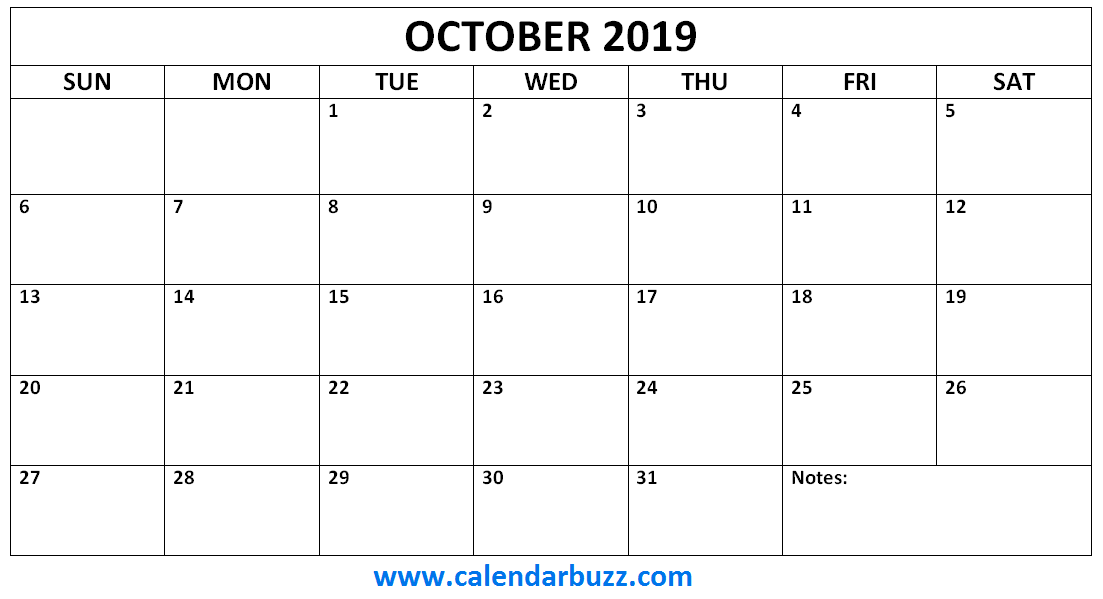 october 2019 calendar monthly printable