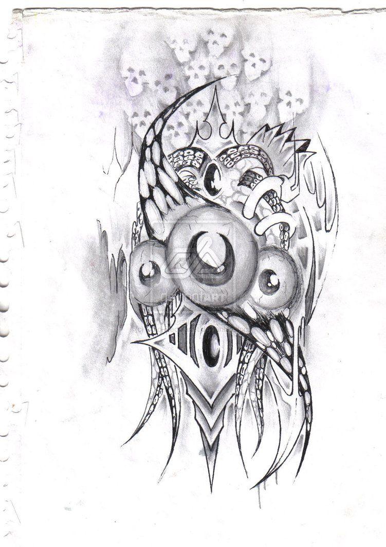 biomechanical evil clowns tattoo design tattooshunt clown tattoo outlines pinterest. Black Bedroom Furniture Sets. Home Design Ideas