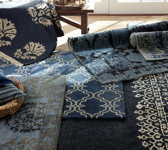 Desa Bordered Wool Rug Indigo Blue Home Decor Rugs