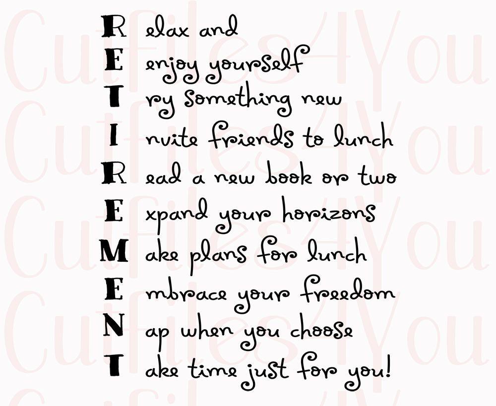 Retirement Acrostic, Poem for retired SVG, gift for coworker ...