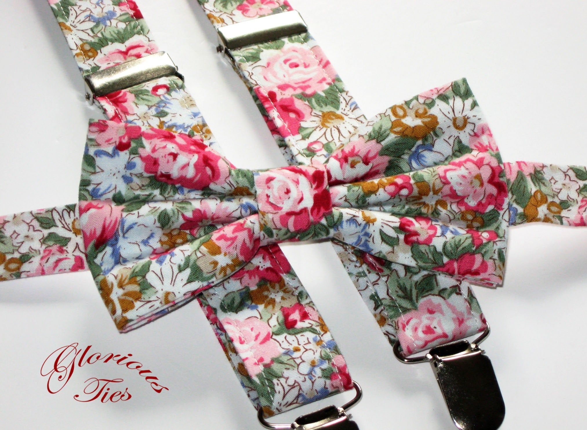 Floral bow tie & suspenders. Pink and green floral braces