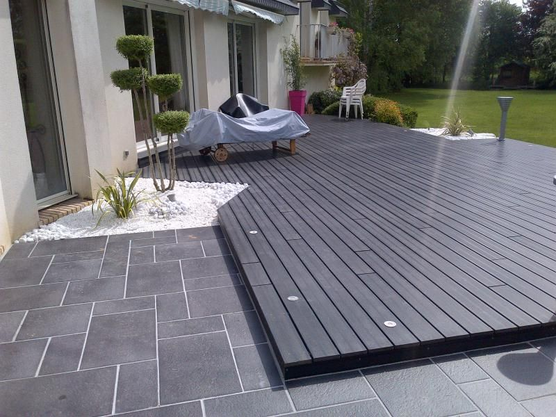 Photo apr s habillage de terrasse dallage et composite for Photo terrasse carrelage gris