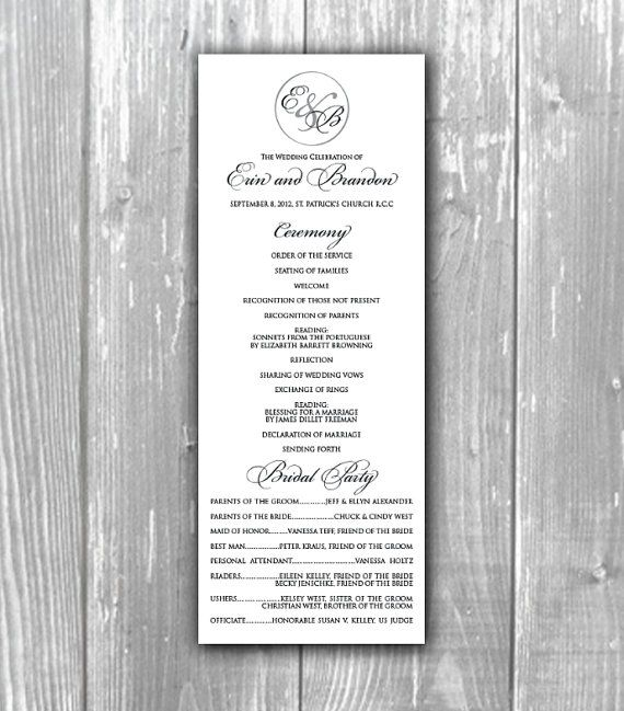 Elegant wedding program church program by TheMemoryTrunk on Etsy - church program