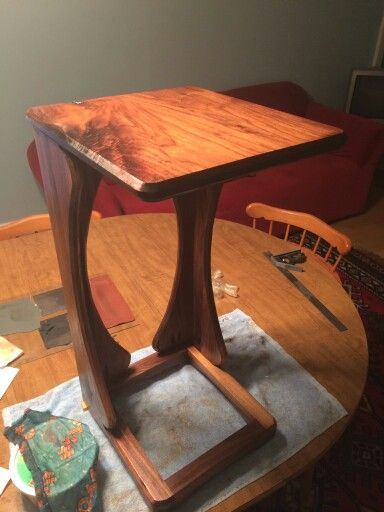 All Walnut Sofa Snack Table With