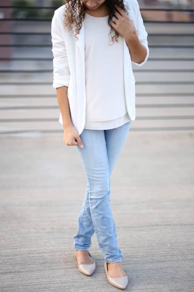 3d4ff41ee24 how to wear a white blazer. white blazer outfit ideas. white on white