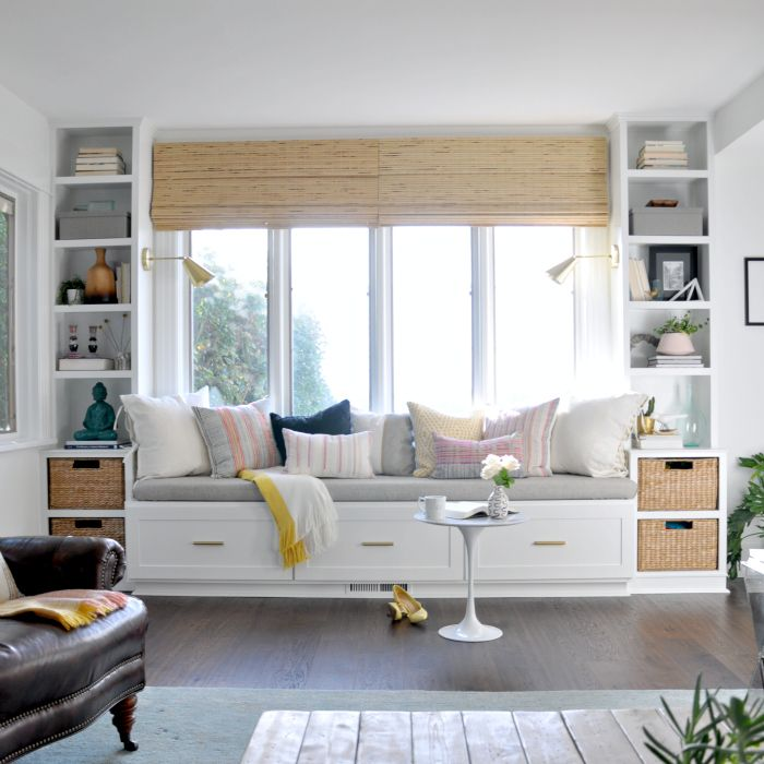 Window seat and built ins reveal befores middles and for Living room built ins ideas