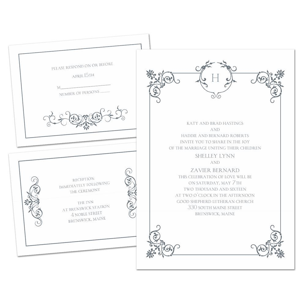 Delicate Scrolls - 3 for 1 Invitation | Affordable wedding ...