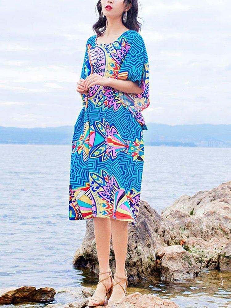 4d955c5bee57 Printed Bohemia Holiday Dress Loose Plus Size Dress | Ladies ...