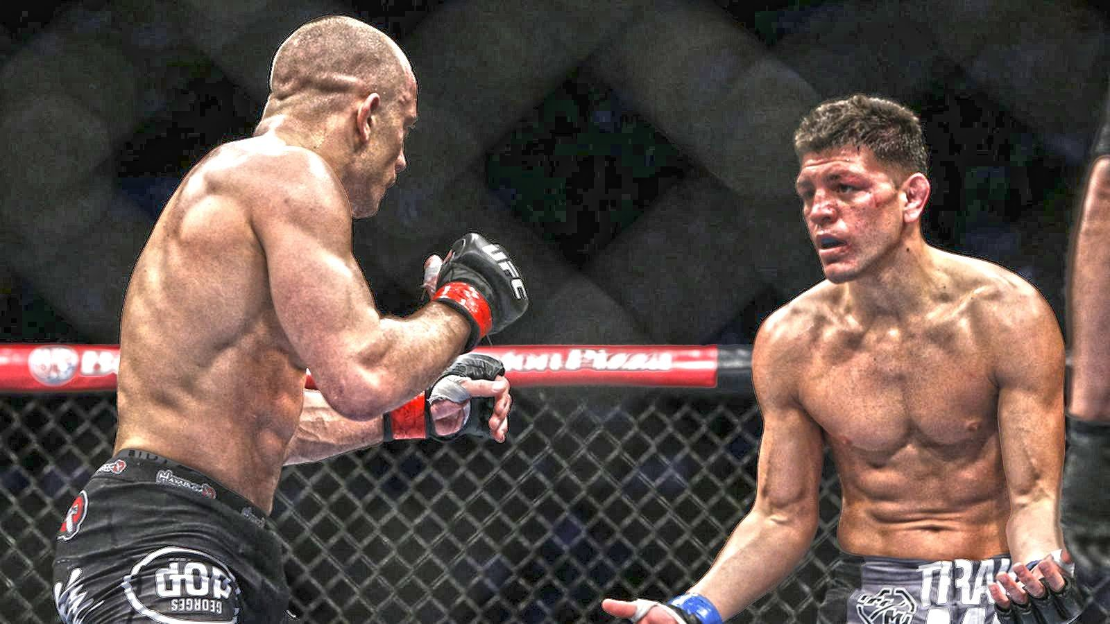 The undisputed UFC Welterweight Champion Georges St-Pierre in his long  overdue fight with Nick Diaz at UFC Micks.