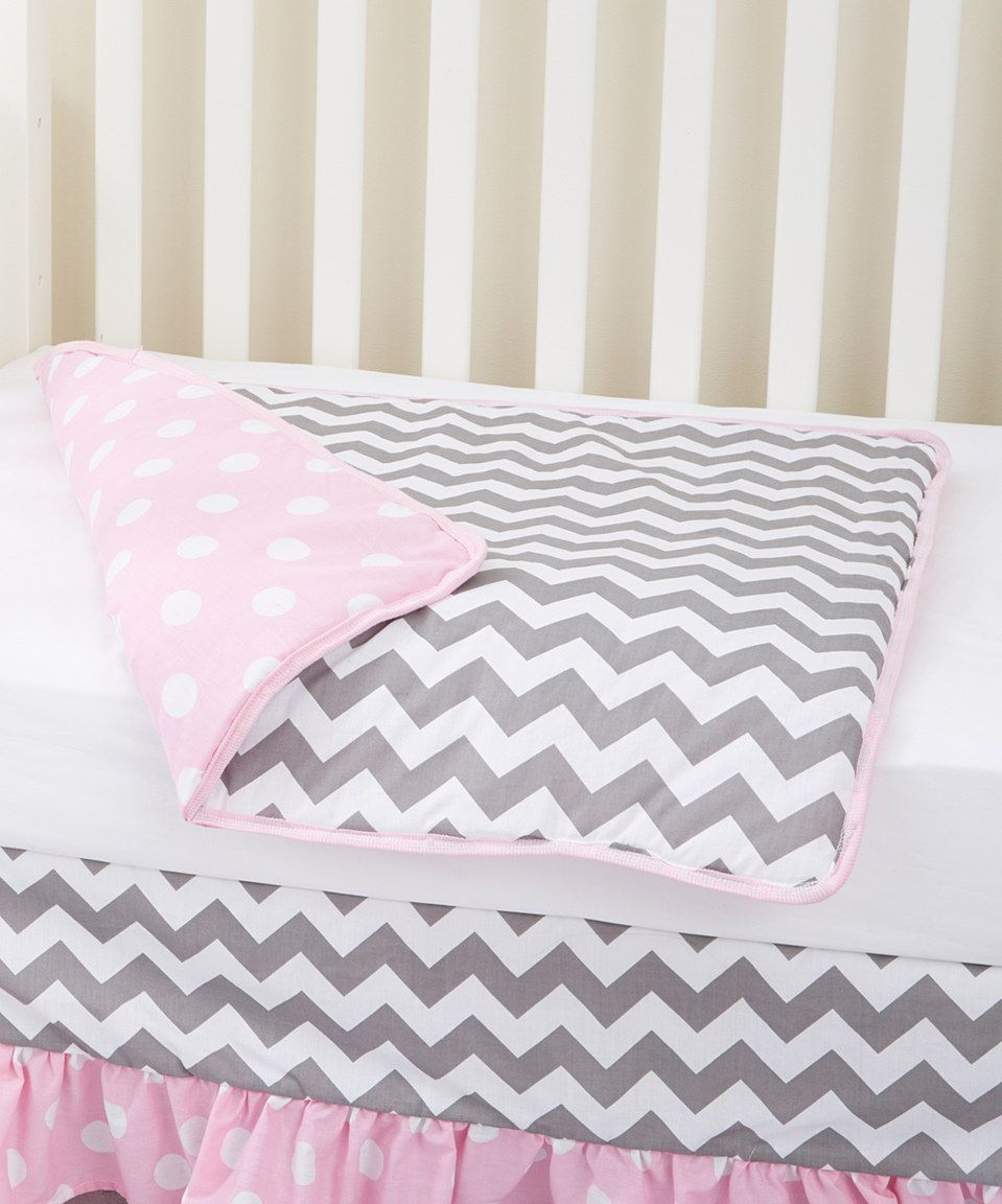 This Rockingham Road 36'' x 36'' Pink & Gray Chevron Reversible Organic Coverlet by Rockingham Road is perfect! #zulilyfinds