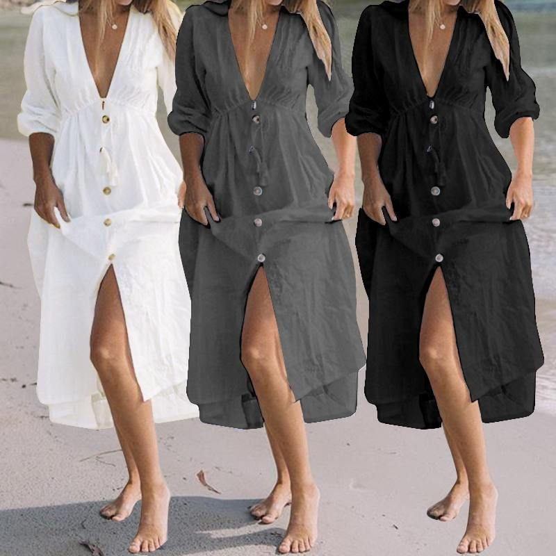 4a0088f06513b Celmia Women Sexy Deep V Neck Maxi Dress 2019 Summer Casual Buttons ...