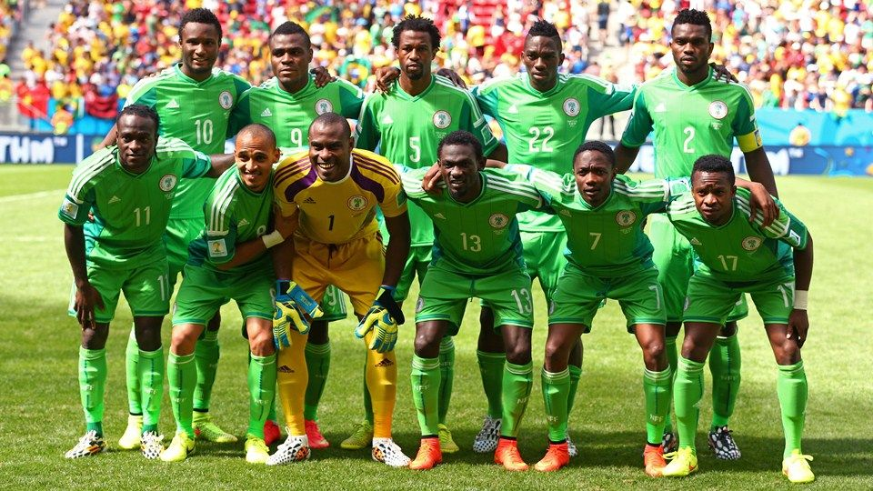 Nigeria pose for a team photo prior to the 2014 FIFA World Cup Brazil Round of 16 match between France #FRA and Nigeria #NGA at Estadio Nacional on June 30, 2014 in Brasilia, Brazil. (Photo by Quinn Rooney/Getty Images)