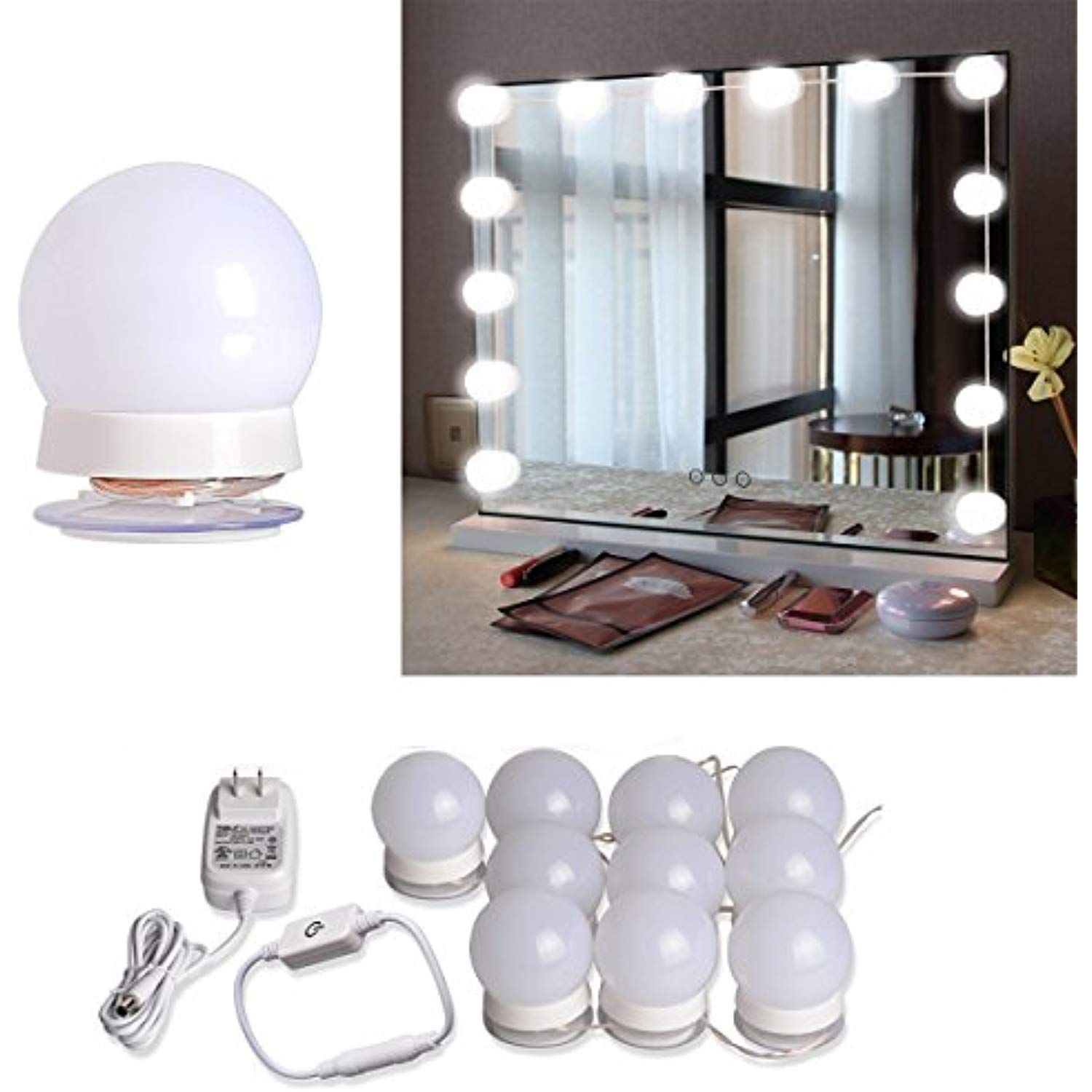 Hollywood Style Led Vanity Mirror Lights Kit With 10 Dimmable Led Light Bulbs And Flexible Strip Fo Mirror With Lights Diy Vanity Mirror Mirror With Led Lights