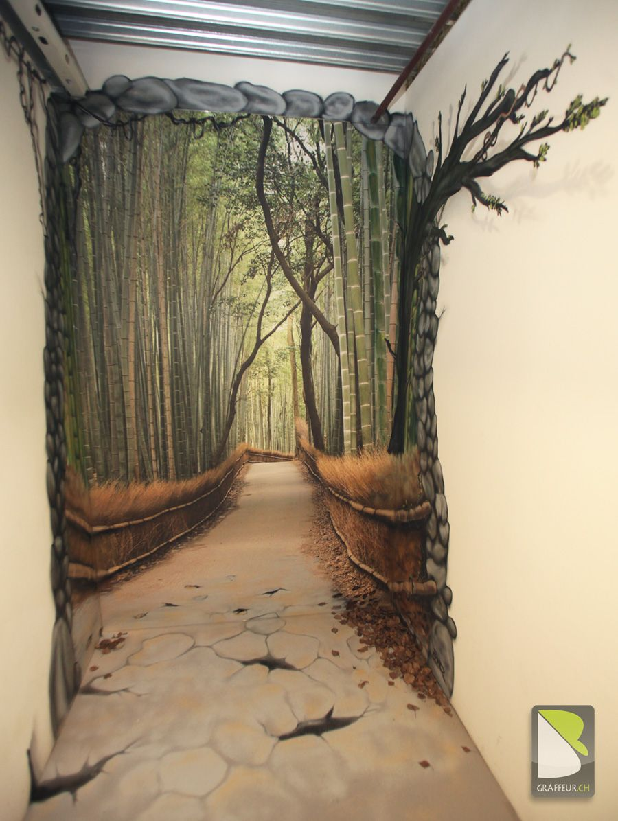 trompe l oeil path in the forest by philippe baro fun with faux wicked cool walls. Black Bedroom Furniture Sets. Home Design Ideas