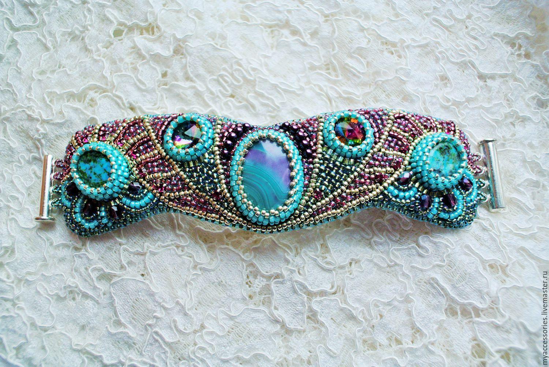 Купить Браслет Восточные сказки - голубой, Браслет ручной работы, Вышивка бисером, вышитый браслет