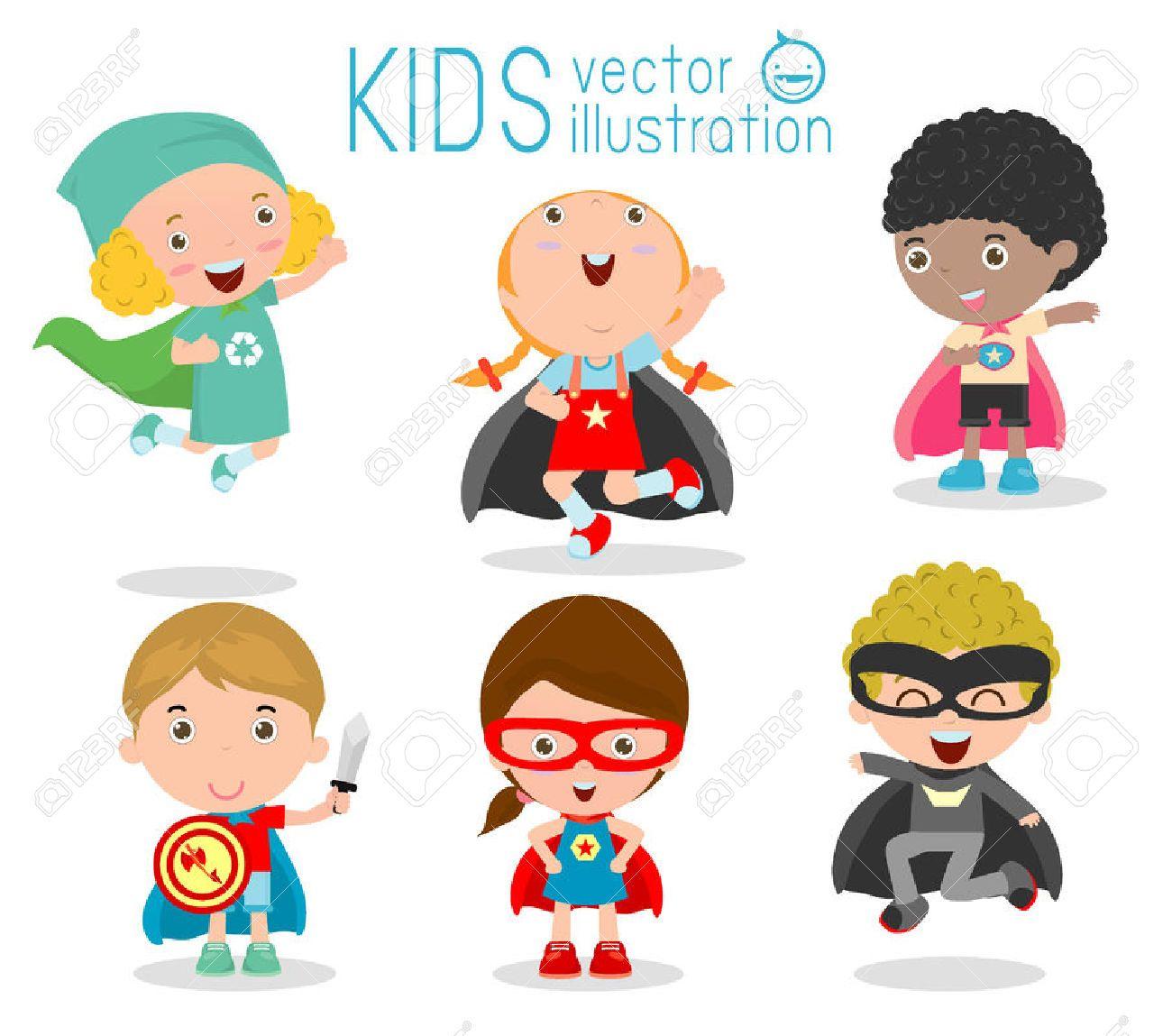 46691485 kids with superhero costumes set kids in superhero