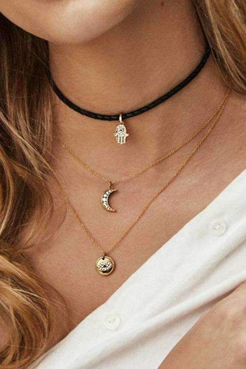 Palm Moon Eye Pendant Multilayer Necklace is part of Layered necklaces, Multi layer necklace, Vintage inspired necklace, Coin pendant necklace, Antique pendant, Necklace lengths -  Hipster Style 1 PC for 1 PAC AVAILABLE IN COLOR GOLD