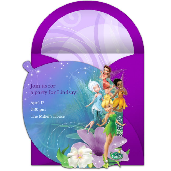 A Great Free Birthday Invitation Featuring Disney Fairies Design We Love This For Inviting Friends To Fairy Or Themed Party