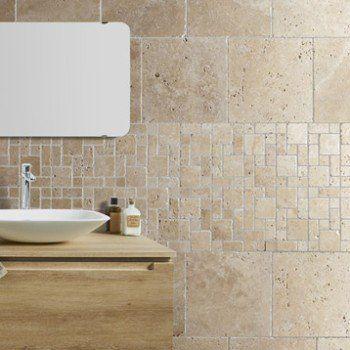 Travertin sol et mur beige effet pierre Travertin l406 x L406 cm