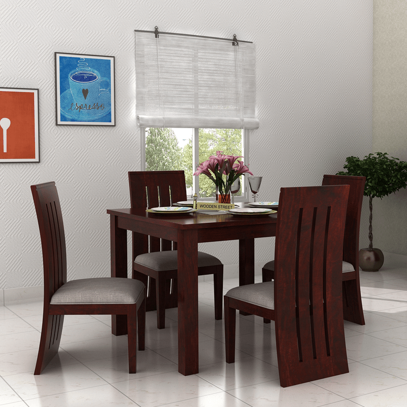 Buy Jaoquin 4 Seater Dining Set Mahogany Finish Online In India