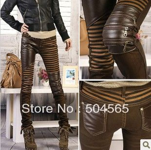Women' PU Leather Patchwork Jeans Pants Fashion Zippers Boots ...
