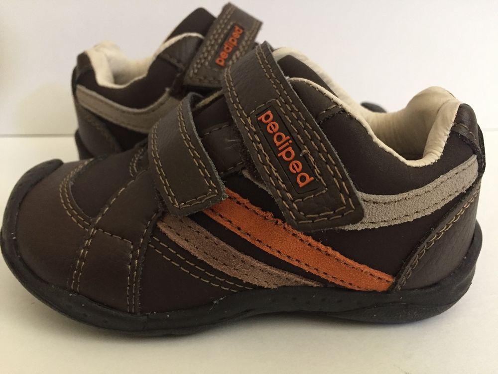 63dbbf8d898 Peddled Flex System Charleston Brown Boys Sneaker Shoe Size 7  Sz 23   pediped