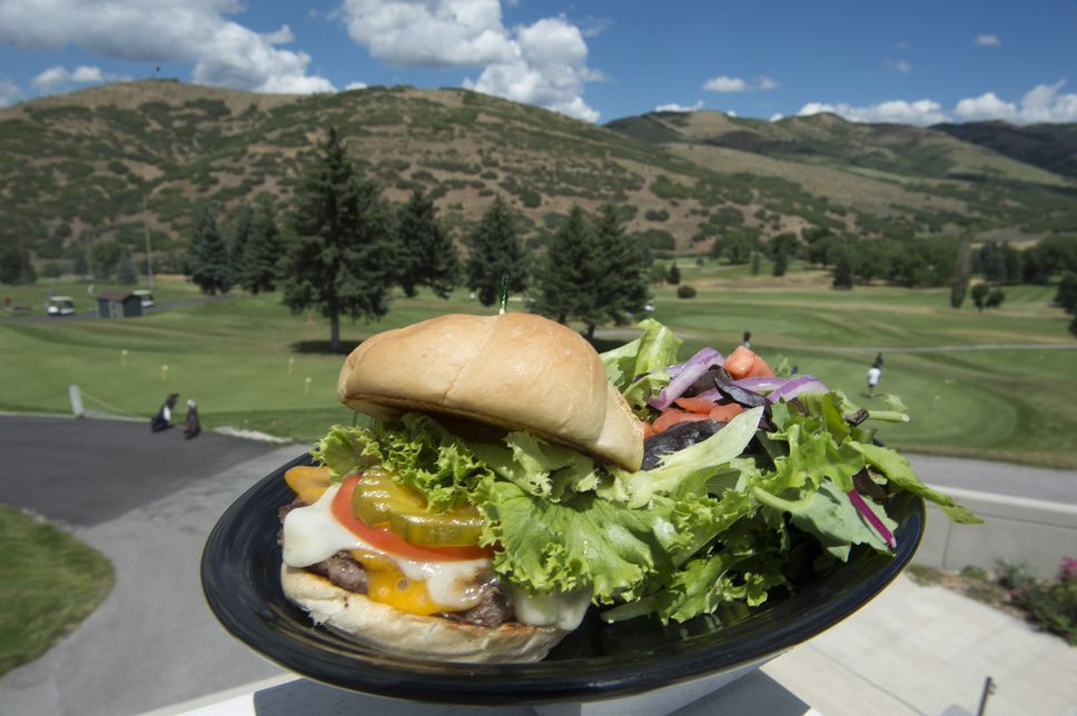 The Canyon Pines Burger with a house salad, at Mountain