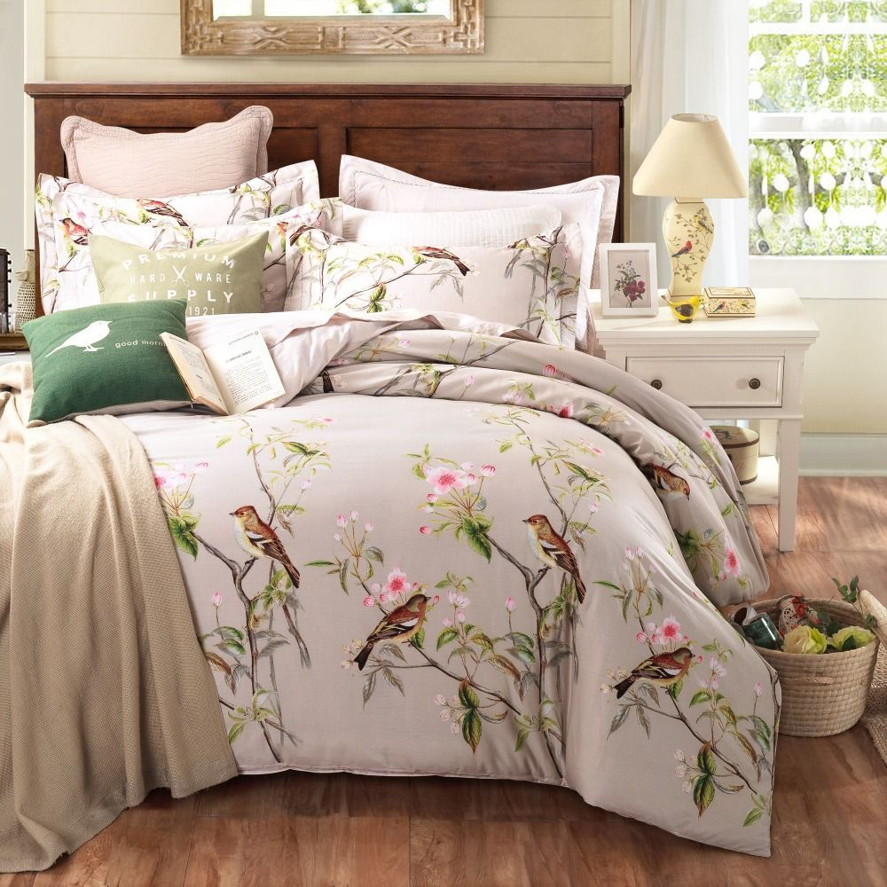 Pastoral Style 100 Cotton Bedding Sets Queen King Size Bed Linen Floral Plant Birds Printed Bed Shee Bed Linens Luxury Designer Bed Sheets King Size Bed Linen