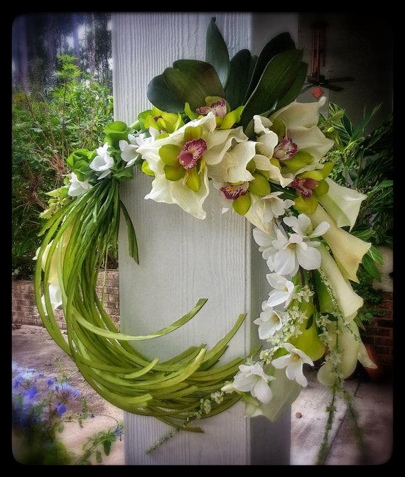 Orchid Flower Arrangements For Weddings: Custom Order Ikebana Style Calla Orchids Bridal Bouquet