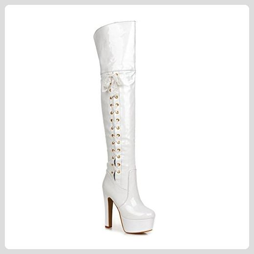 Frauen Starke Ferse Mode Lackleder über Knie Hohe Stiefel Winter Rot Stiefel (33.5, Weiß) - Stiefel für frauen (*Partner-Link)