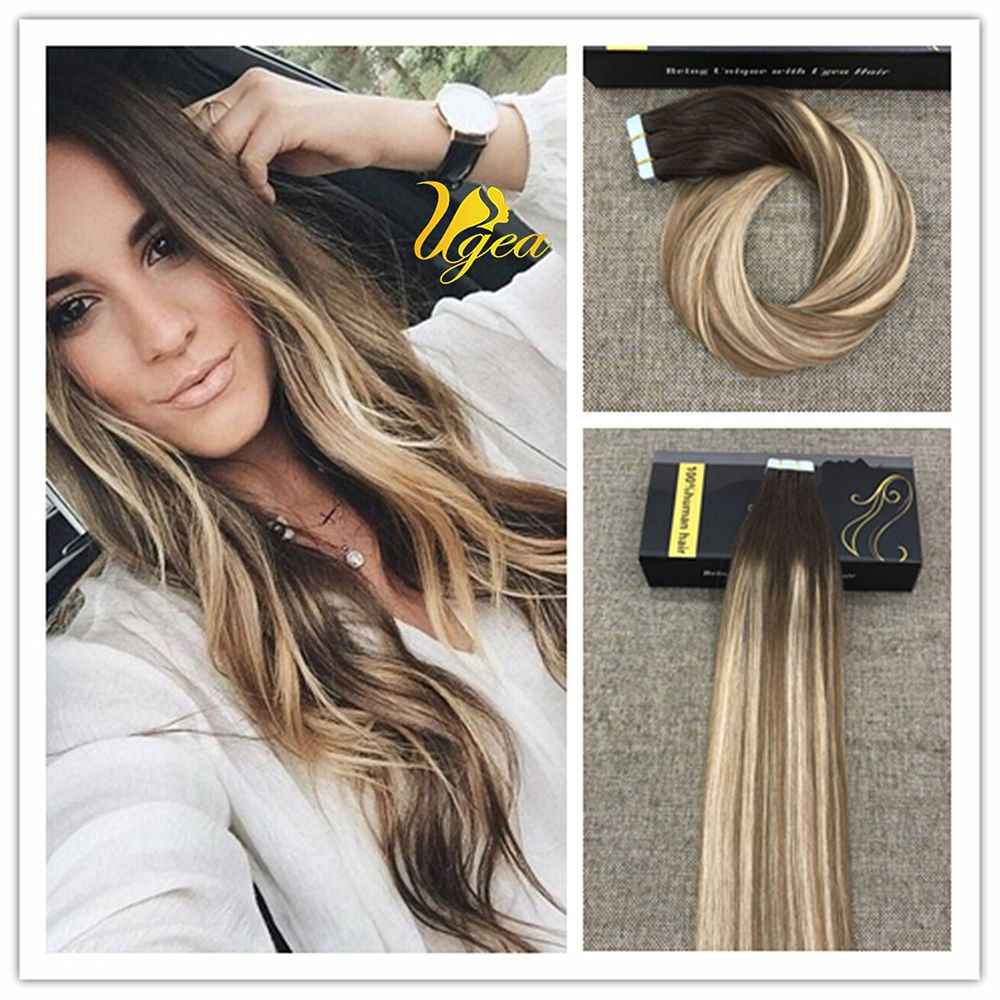 Balayage Highlight Medium Brown Medium Blonde Pu Tape In Human Hair